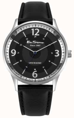 Ben Sherman Mens Black Dial Black Leather Strap Script Watch BS001BB
