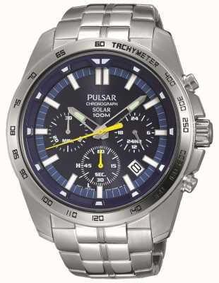 Pulsar Mens Solar Powered Blue Chronograph Stainless Steel Bracelet PZ5001