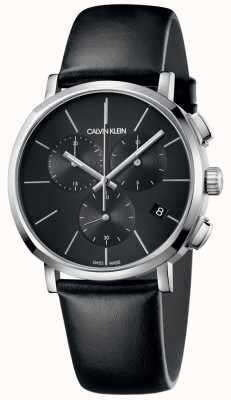 Calvin Klein Mens Black Leather Watch K8Q371C1