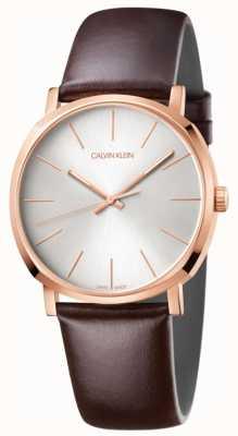 Calvin Klein Mens Brown Leather Strap Rose Gold Watch K8Q316G6