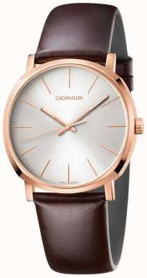 Calvin Klein Men's Brown Leather Strap Rose Gold Watch K8Q316G6