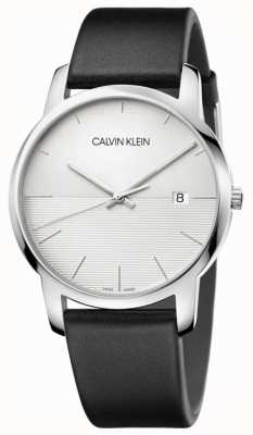 Calvin Klein Mens Black Leather Strap Silver Dial K2G2G1CD
