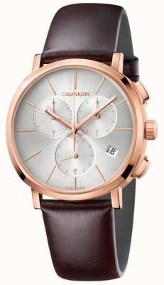 Calvin Klein Mens Brown Leather White Dial Watch K8Q376G6