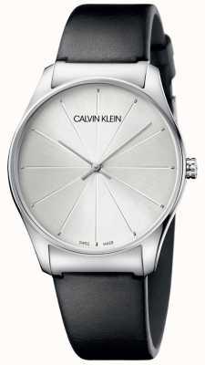 Calvin Klein Women's Black Leather Silver Dial Watch K4D211C6