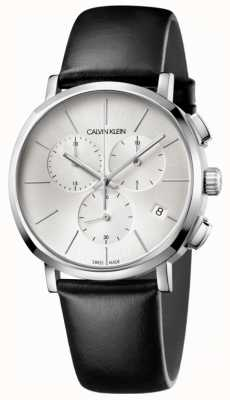 Calvin Klein Mens Black Leather Silver Dial Watch K8Q371C6