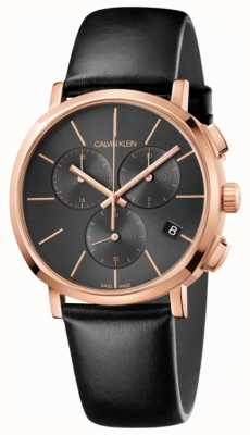 Calvin Klein Mens Black Leather Chronograph Watch K8Q376C3