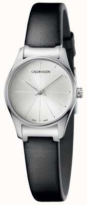Calvin Klein Ladies Black Leather Watch Silver Dial K4D231C6