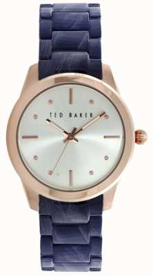 Ted Baker Womens Blue Resin Bracelet Watch Silver Dial 10025284