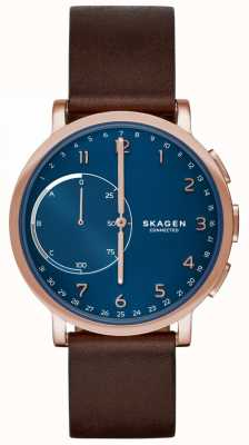 Skagen Hagen Connected Smart Watch Brown Leather Strap Blue Dial SKT1103