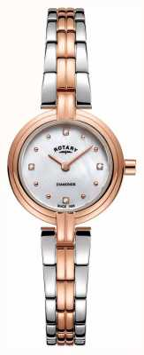 Rotary Women's Diamonds Two Tone Rose Gold Stainless Steel LB00412/41