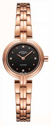 Rotary Women's Diamonds Black Dial PVD Plated Rose Gold Stainless LB00414/15