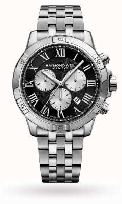 Raymond Weil Mens Tango Chronograph Stainless Steel Black Dial 8560-ST-00206