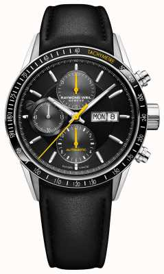 Raymond Weil Mens Freelancer Automatic Chronograph Black Leather Strap 7731-SC1-20121