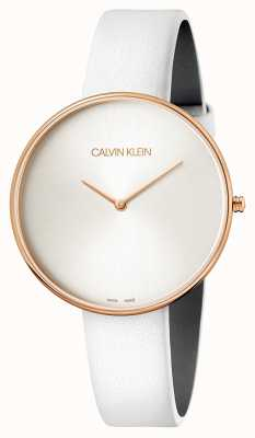 Calvin Klein Ladies' Wristwatch Full Moon White Leather K8Y236L6