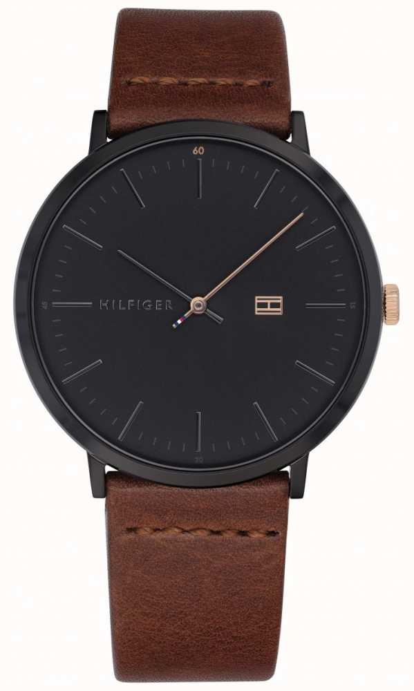abbd08be1 Tommy Hilfiger Mens James Watch Brown Leather Strap Dark Grey Dial ...