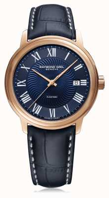 Raymond Weil Mens Maestro Automatic Blue Leather Strap Blue Dial 2237-PC5-00508