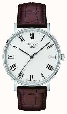 Tissot Mens Everytime Medium Brown Leather Strap White Dial T1094101603300