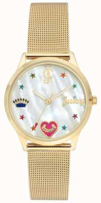 Juicy Couture Women Gold Mesh Bracelet Watch With Coloured Markers JC-102WTGB