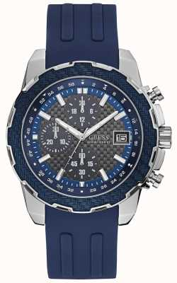 Guess Mens Octane Chronograph Watch Blue Silicone Strap W1047G2
