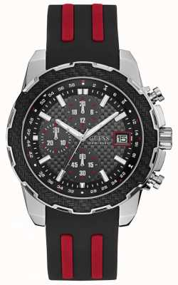 Guess Mens Octane Chronograph Watch Black Red Silicone Strap W1047G1