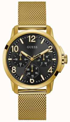 Guess Mens Voyage Watch Gold Tone Mesh Bracelet Black Dial W1040G3