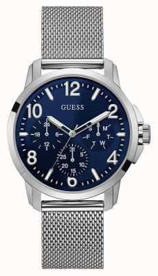 Guess Mens Voyage Watch Silver Tone Mesh Bracelet Blue Dial W1040G1