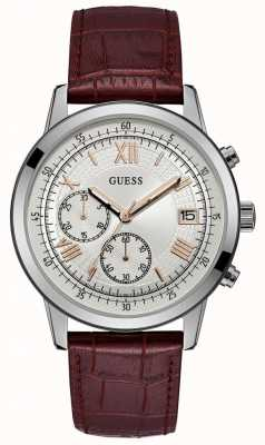 Guess Mens Summit Chronograph Watch Brown Leather Strap W1000G2