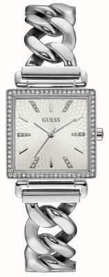 Guess Womens Vanity Watch Silver Tone Bracelet Rectangle Dial W1030L1