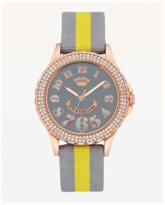 Juicy Couture Womens Large Dial Grey And Yellow Nylon Strap JC-1056RGGY