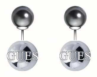 Guess Womens Silver Plated Rolling Pearl Ball Stud Earrings UBE84103