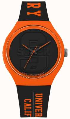 Superdry Urban XL Varsity Matt Black Dial Black Strap Orange SYG240BO
