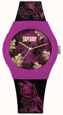 Superdry Urban Tropicana Purple And Pink Leaf Print Dial Purple Strap SYL247BP