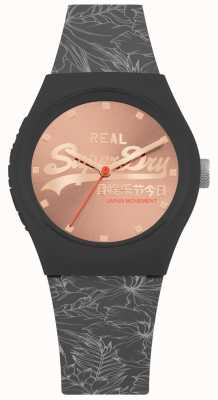 Superdry Urban Leaf Rose Gold Sunray Dial Dark Grey Strap SYL248E