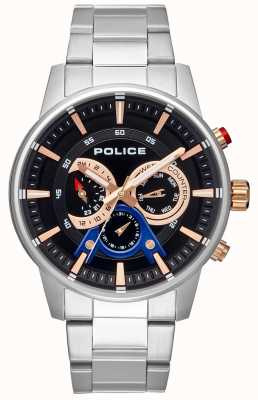 Police Mens Smart Style Stainless Steel Bracelet Black Dial PL.15523JS/02M