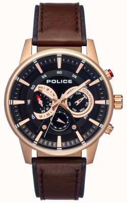Police Mens Smart Style Brown Leather Strap Black Dial PL.15523JSR/02
