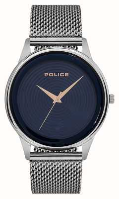Police Mens Smart Style Stainless Steel Mesh Bracelet Blue Dial PL.15524JS/03MM