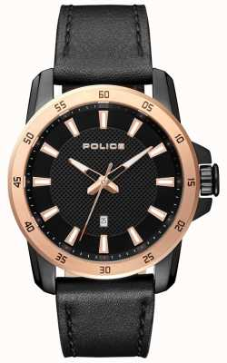 Police Mens Smart Style Black Leather Strap Black Dial PL.15526JSBR/02