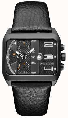 Police Urban Style Black Leather Strap Black Dial PL.15528JSB/61