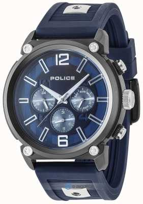 Police Mens Rebel Style 2 Tone Silicone Strap Blue Dial PL.15049JSU/03P