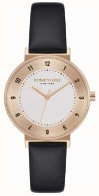 Kenneth Cole Ladies Black Leather Strap White Dial Watch KC50075003