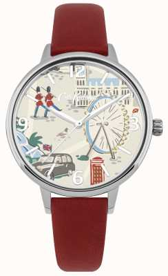 Cath Kidston Women's Red Leather Strap London Map Printed Dial Watch CKL053R