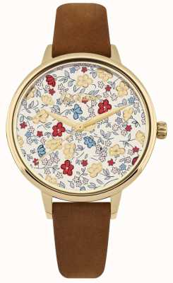 Cath Kidston Womens Tan Leather Strap Ditsy Floral Print Dial CKL058TG