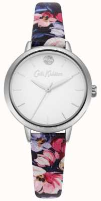 Cath Kidston Womens Navy Floral Printed Strap White Dial CKL064U
