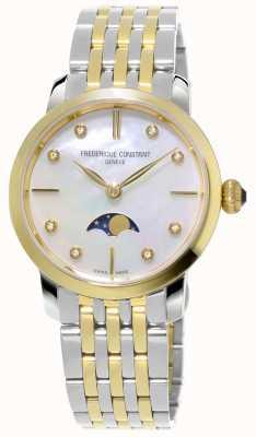 Frederique Constant Womens Slimline Moonphase Quartz Two Tone Bracelet FC-206MPWD1S3B