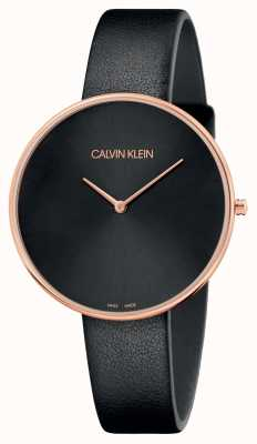 Calvin Klein Womens Full Moon Rose Gold Black Leather Strap K8Y236C1