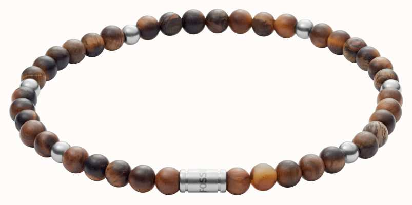 Fossil Vintage Casual Tigers Eye Bead Bracelet JF02939040