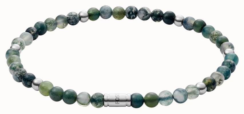 Fossil Vintage Casual Moss Agate Bead Bracelet