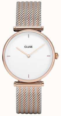 CLUSE Triomphe Rose Gold Bicolour Mesh Bracelet White Dial CL61003