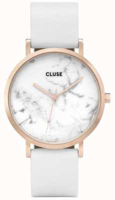 CLUSE La Roche Rose Gold Tone Case White Marble Dial White Leather CL40010
