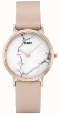 CLUSE La Roche Petite White Marble Dial Pink Leather CL40109